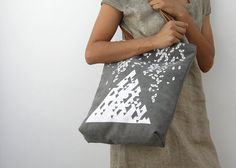 This dark gray canvas tote was hand screen printed by me with an original geometric pattern design on to sturdy cotton fabric.    ~ Measurements: W 13""