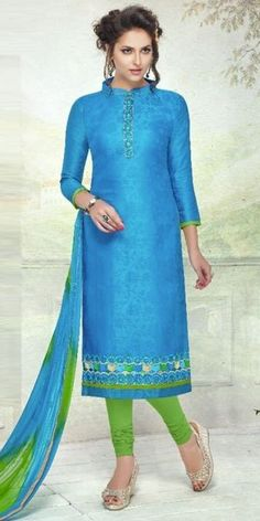 Exhausting Blue Cotton Straight Suit With Dupatta.