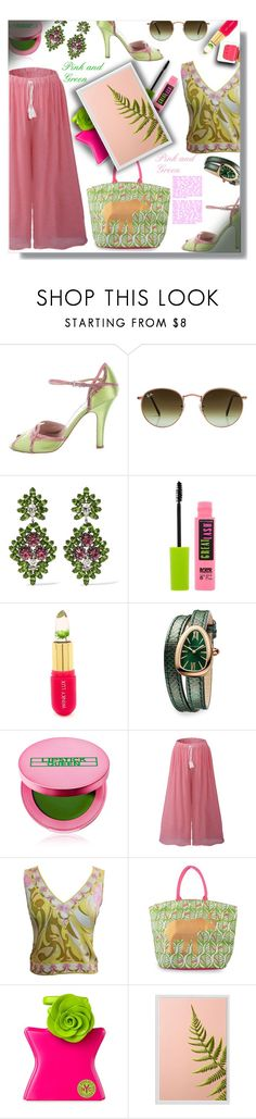 """"""""""" Pink and Green """" - Contest!"""" by sarahguo ❤ liked on Polyvore featuring Prada, Ray-Ban, Kenneth Jay Lane, Maybelline, Winky Lux, Bulgari, Lipstick Queen, Emilio Pucci, Bond No. 9 and Pottery Barn"""