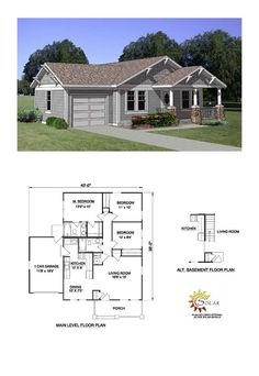 House Plan 94374 - Bungalow, Country Style House Plan with 1064 Sq Ft, 3 Bed, 2 Bath, 2 Car Garage Bungalow Homes, Bungalow House Plans, Dream House Plans, Small House Plans, House Floor Plans, Br House, Sims House, Bungalows, 1200 Sq Ft House