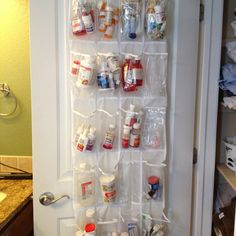 Medicine organizer space saving idea - if you don't have shelf space consider hanging your meds from the back of the pantry door.