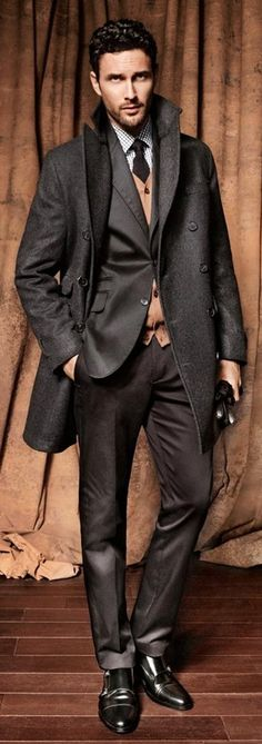 noah mills all buttoned up. #doublebreastedcoat #suitup