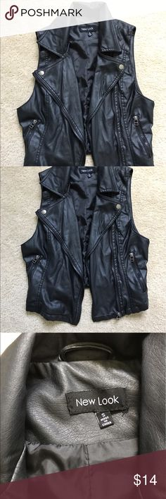 Faux leather moto vest light weight Faux leather black moto vest. Cropped. Very light weight. Comes up a little above the waist. Worn only once. Perfect condition. Size small. Can fit xs-s. Zipper closure and zipper pockets. New Look Tops