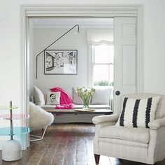 A sitting room-cum-study is connected to the original sitting room by adding sliding pocket doors built into the dividing wall. #edwardianterrace