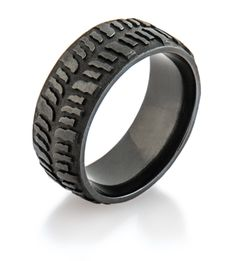 Mens Dark Mud Bogger Ring Tire RingMen Wedding