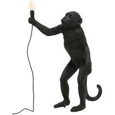 Seletti Home Standing Monkey Lamp (5.633.065 IDR) ❤ liked on Polyvore featuring home, lighting, black, black lights, seletti, standing lamps, colored lamps and black lamp