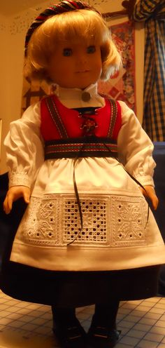 Hardanger adaptation of the Doering kit for the Doll Ag Dolls, Girl Dolls, Going Out Of Business, Easy Sewing Patterns, Doll Dresses, Doll Stuff, Girl Doll Clothes, 18 Inch Doll, Historical Clothing