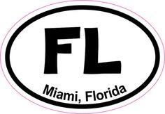3in x 2in Oval Miami Sticker Vinyl Florida Cities Vehicle Bumper Stickers