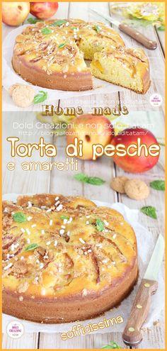 TORTA DI PESCHE E AMARETTI. Una #torta estiva profumatissima che si prepara in modo facile e veloce, perfetta come #merenda fresca e genuina o una sana e golosa #colazione ma sarà anche ottima da servire come fine pasto per una #cena con gli amici, magari accompagnata da una pallina di #gelato alla vaniglia.  #food #foodie #pesche #amaretti #dolce #dessert #torte #gialloblog #giallozafferano #idolciditatam #dolcicreazioni #breakfast #brunch #ricetta #recipe #peach #ricetteitaliane Gelato, Hamburger, Bread, Sweet, Recipes, Food, Dinner, Mascarpone, Italian Pastries