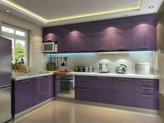 L shape PVC purple cabinet for small kitchen - modern - Kitchen Cabinets - Other Metro - Foshan Yajiasi VC Cucine Kitchen Cabinet Co. Minimalist Kitchen Design, Interior Design Kitchen, Kitchen Design Decor, Simple Kitchen, Purple Kitchen Cabinets, Kitchen Remodel Small, Kitchen Modular, Modern Kitchen Cabinets, Modern Kitchen Cabinet Design