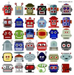 variety of robot head vector