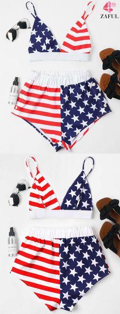 40d0c80b01851 American Flag Cami Shorts Set