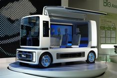 The Daihatsu FC Case Concept is an autonomous, radical transportation vehicle. It is a design statement and a technology platform, fueled by a variant of hydrogren called hydrazine hydrate (or N42H4 H2O). According to Daihatsu, the fuel has a higher energy density and lower flammability. The fuel can be transported and inserted into the vehicle in a similar fashion to gasoline.