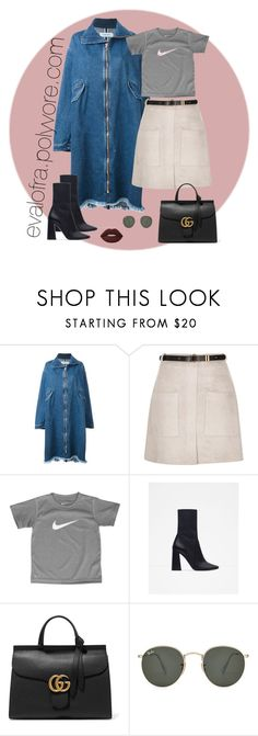 """""""Sin título #670"""" by evalofra ❤ liked on Polyvore featuring Marques'Almeida, River Island, NIKE, Zara, Gucci, Ray-Ban and Lime Crime"""