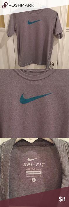Boys grey Nike tee Grey with blue logo Nike Shirts & Tops Tees - Short Sleeve