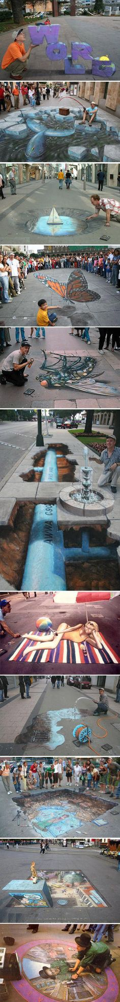 10 excellent 3D street chalk artworks