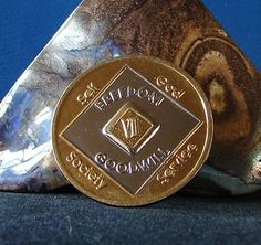 Narcotics Anonymous 24K Gold /Silver Vintage Bi Plate 7 year NA Medallion