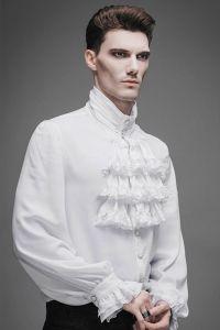 Viktorianisches Rüschenhemd mit gerüschten Manschetten - weiss