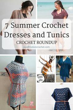7 Summer Crochet Dresses and tunics, crochet roundup for summer. Great crochet patterns for summer. Easy crochet ideas. Summer crochet ideas. #crochettunic #crocheting #crochetpattern #crochet #crochetdress