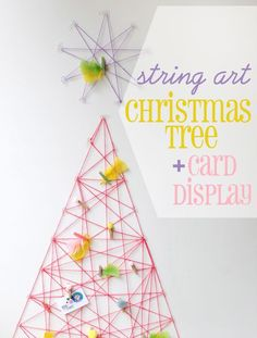 How To: String Art Christmas Tree & Card Display Filed under DIY, DIY HOME 43 comments String wall christmas tree This is a sponsore. Wall Christmas Tree, Unique Christmas Trees, Alternative Christmas Tree, Noel Christmas, Winter Christmas, Christmas Decorations, Xmas Tree, Holiday Crafts, Holiday Fun