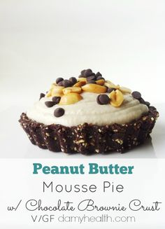 Peanut Butter Vegan Mousse Pie with Chocolate Brownie Crust