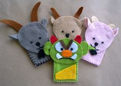 My Little Lizzie Handmade Craft: Lizzie - Finger Puppets Felt Puppets, Puppets For Kids, Felt Finger Puppets, Sewing Crafts, Sewing Projects, Craft Projects, Troll, Finger Puppet Patterns, Billy Goats Gruff
