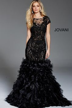 Jovani 51660 is a Cap Sleeve Embellished Mermaid Evening Gown with a ruffle skirt. Couture Dresses, Bridal Dresses, Bridesmaid Dresses, Prom Dresses, Wedding Gowns, Bridesmaids, Mermaid Evening Gown, Formal Evening Dresses, Evening Gowns