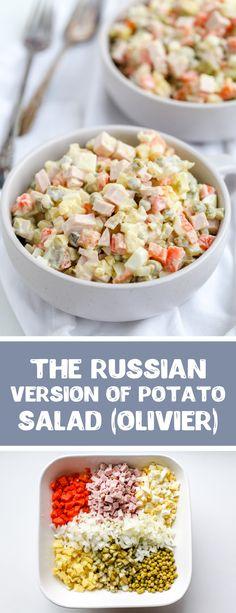 Night Dinner Recipes, Vegetarian Recipes Dinner, Brunch Recipes, Russian Dishes, Russian Recipes, Russian Salad Recipe, Olivier Salad, Savory Salads, Healthy Family Dinners