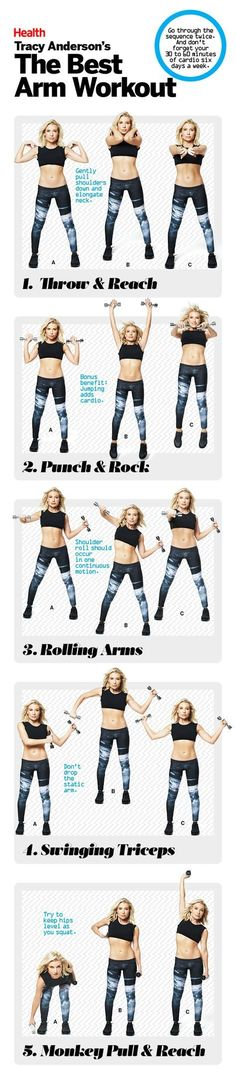 Get the biceps (and triceps and shoulders) you crave with this upper-body workout from celebrity trainer Tracy Anderson. Get the biceps (and triceps and shoulders) you crave with this upper-body workout from celebrity trainer Tracy Anderson. Sport Fitness, Body Fitness, Fitness Diet, Fitness Goals, Fitness Motivation, Workout Fitness, Fitness Exercises, Life Motivation, Fitness Quotes