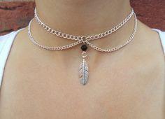 chain choker feather choker silver jewellery by nikajewellerybox