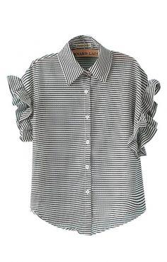 Mandarin Sleeves Lapel Black White Stripes Print Blouse