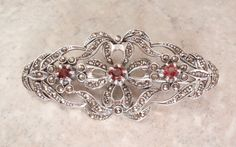 Sterling Garnet Brooch Marcasites Large Silver by cutterstone