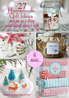 27 Homemade Gift Ideas in a jar, on a string, using a wick & more…via Nest of Posies #Christmas #homemade | http://dreamcarscollections948.blogspot.com