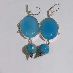 """Blue Chalcedony Earrings Lovely stones bezel set in silver plate. Lever back hooks. Approx 3"""" long. NWOT, gift boxed. Jewelry Earrings"""