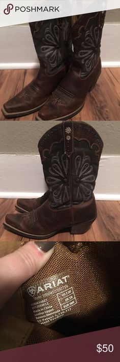 Ariat Cowgirl Boots Bought these brand spankin' new! Only wore 3 or 4 times. Always wiped after wearing! Great condition! Just don't wear them enough to keep! Ariat Shoes Heeled Boots
