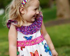 Girls Dress Pattern PDF Pattern with Ruffle Neck and Sash - Peasant Dress PDF Pattern