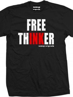 "Men's ""Free ThINKer"" Tee by Aesop Originals (Black)"