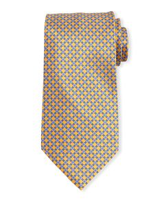Neat Square-Print Silk Tie