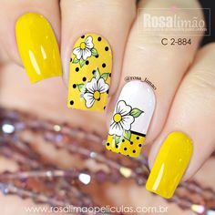 Latest Nail Designs, Diy Nail Designs, Spring Nails, Summer Nails, Dot Nail Art, Yellow Nails, Nail Art Hacks, Flower Nails, Finger