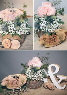 Rustikales Centerpiece mit bedruckter Tischnummer aus Holz DIY Tablenumbers with photo