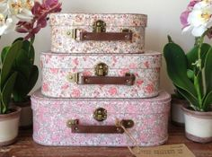 SET OF 3 VINTAGE STYLE FLORAL CHILDREN'S SUITCASES STORAGE BOX TOY STORAGE CASES