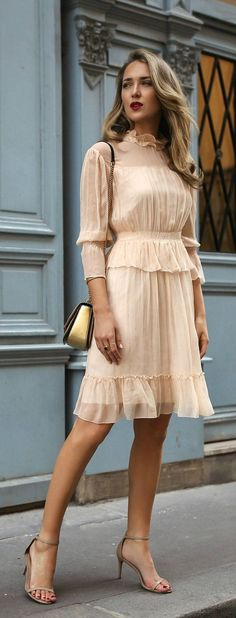 f53956886ee What to Wear to a Baptism    Light nude apricot ruffle flounce trim long  sleeve short dress