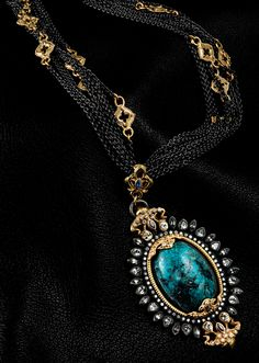 ARMENTA  Chrysocolla and sapphire pendant. Multi-strand oxidized sterling silver chain with 18-karat yellow gold details.