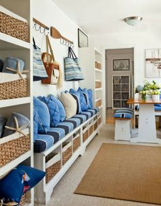 "Keep contaminants out of the home by designing a ""mud room"" that encourages occupants and guests to take off their shoes. If you take off your shoes, you don't track pesticides (and other toxins that are commonly found outdoors) into the house. Coastal Cottage, Coastal Homes, Coastal Style, Coastal Living, Coastal Decor, Coastal Colors, Nautical Style, Coastal Interior, Estilo Navy"