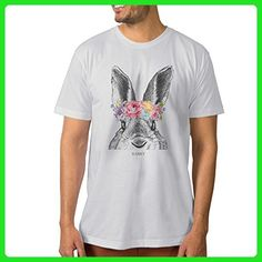 Men's Rabbit Guinea Pig Bunny Garlan Queen Flower Fashion T Shirt - Animal shirts (*Amazon Partner-Link)
