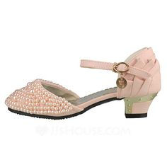 Kids' Closed Toe Pumps Chunky Heel Leatherette Imitation Pearl Wedding Shoes