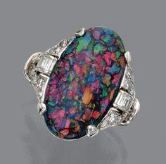 Black Opal & Diamond Ring, circa 1920