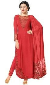 Karisma Kapoor Red Color Georgette Pant Style Suit #bollywoodfloorlengthanarkalionline #bollywoodblousesonline Look pretty as Karisma Kapoor, owning this red color georgette pant style suit. That you can see some fascinating patterns completed with lace and resham work.