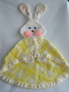 Vintage 1979 Fisher Price Yellow Plaid Bunny Rabbit Security Blanket