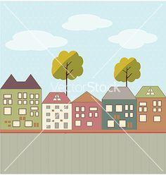 Cartoon town vector on VectorStock®